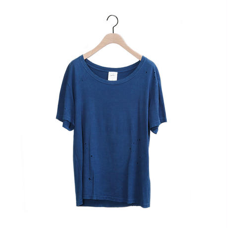 【CNLZ】Organic Damaged Tee INDIGO/シーエヌエルゼット オーガニックダメージTシャツ 藍染