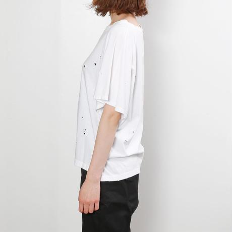【CNLZ】Organic Damaged Cut WHITE/シーエヌエルゼット オーガニックダメージカットソー 白