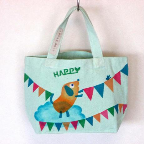 ☆NEW☆お買い物に♪ランチバッグに♪便利に使えるミニトートバッグ(グリン地・旗ワンコ)