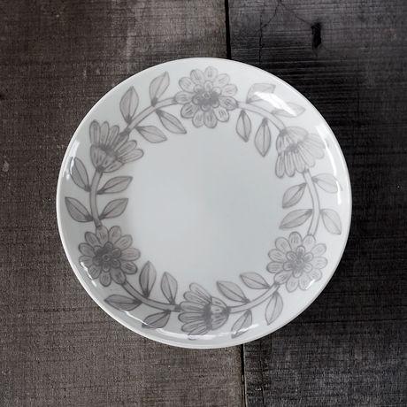 堀江陶器 デイジー プレート 18㎝ グレー