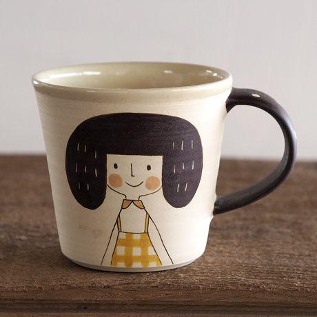 増永 典子 女の子マグカップ 白 3