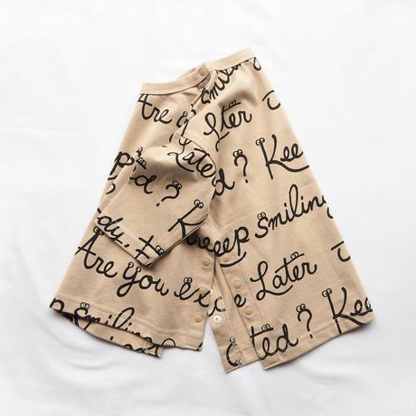 CLOUDY, FINE LATER スマイルプリント7分袖丈ゆったりTシャツ 522-154014