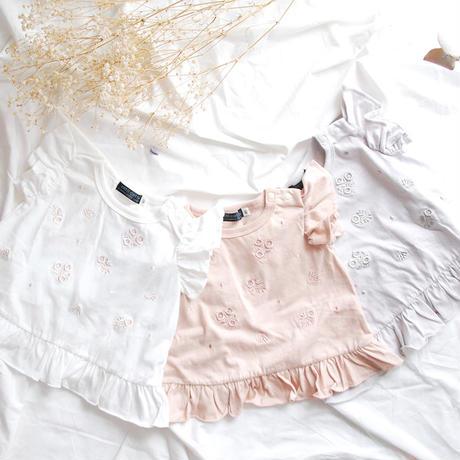 coto cotte バックフリル花刺繍Tシャツ 722-062208