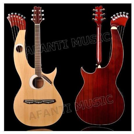 インパクト抜群!ハープギター アコースティック  スプルーストップ サペリバック&サイド ローズウッド指板 afanti