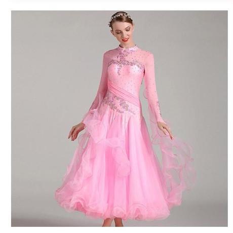 社交ダンス ダンス衣装 モダン競技ロングワンピース 長袖 ピンク ライトブルー サイズS M L XL XXL