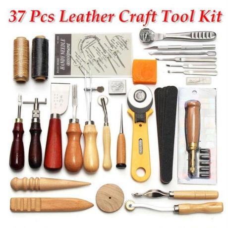 レザークラフト 縫い道具 37点セット レザーツール 革工具セット 革細工 DIY 手作り 縫製キット