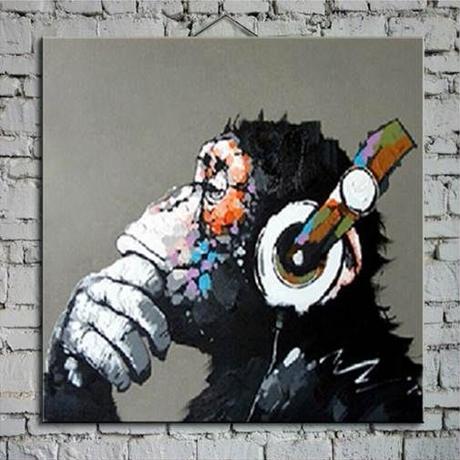 【手描き 油彩画】 -Pan troglodytes Oil Painting- 動物 ゴリラ 海外輸入 パネルアート 壁掛 インテリア 絵画 油絵