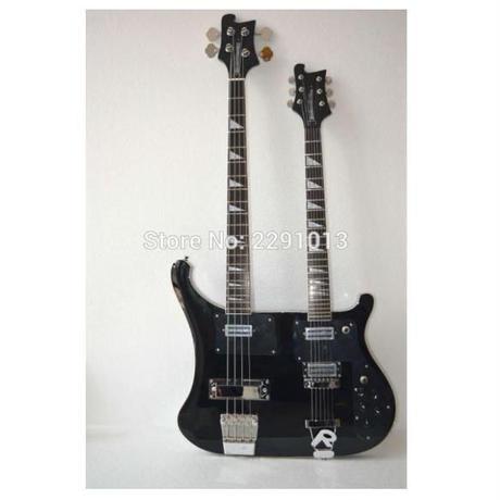ダブルネックベースギター 4弦+6弦 ブラック ピックガード付 レア ハイクオリティ ノーブランド 41インチ
