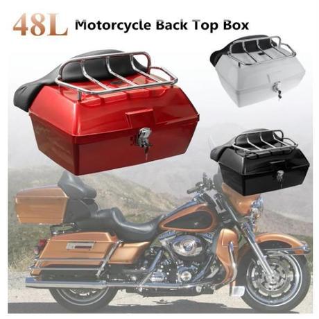 48L ユニバーサル オートバイ 後部収納ボックス 3色 尾荷物トランクケース ツールボックス ステンレス スクーター バイク