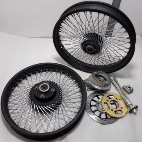 CG125 YBR125 フロント リアホイール 17~18インチ 72スポーク ブラック クローム バイク ブレーキハブ付き GN125 GN250