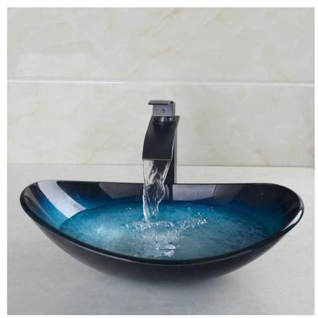 浴室洗面台 洗面ボウル 強化ガラス 真鍮 ブロンズ仕上げ ハンドペイント ビクトリーシンク ベッセルシンク 真ちゅうカウンター洗面器