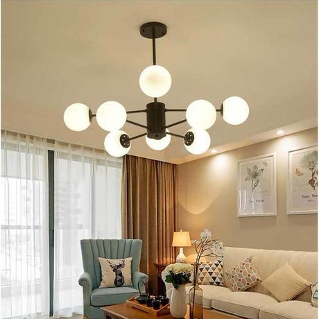 北欧 電球玉付 8灯 ペンダントライト 3色 シャンデリア LEDランプ 天井照明器具 シーリングライト 8灯