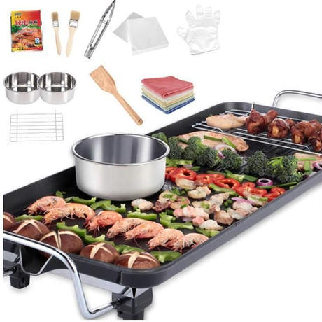 家庭用 韓国式電気グリル 68×29cm 電気ベーキングパン 韓国鉄板焼き ノンスティックバーベキューグリル