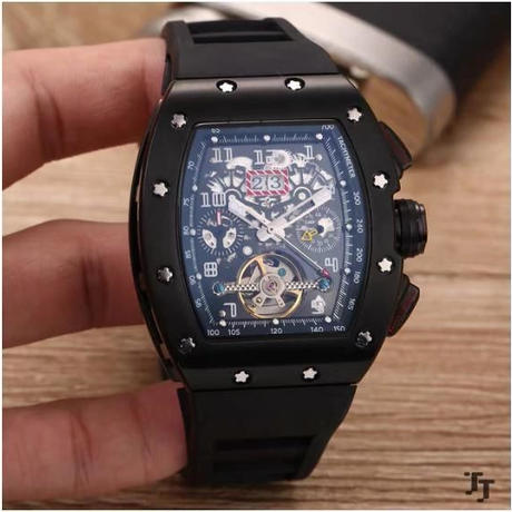 ハイブランドメンズウォッチ 自動巻 機械式腕時計 サファイアクリスタル 3色 シルバー ゴールド ブラック  Tourbillions カレンダー AAA +