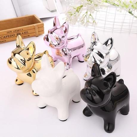 犬 ブルドッグ 貯金箱 5色 可愛い セラミック製 置物 誕生日プレゼント 貯金箱 贈り物