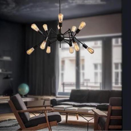 天井工事不要引掛シーリング対応ペンダントライト新品シャンデリアLEDランプ天井照明器具スパイダー12灯