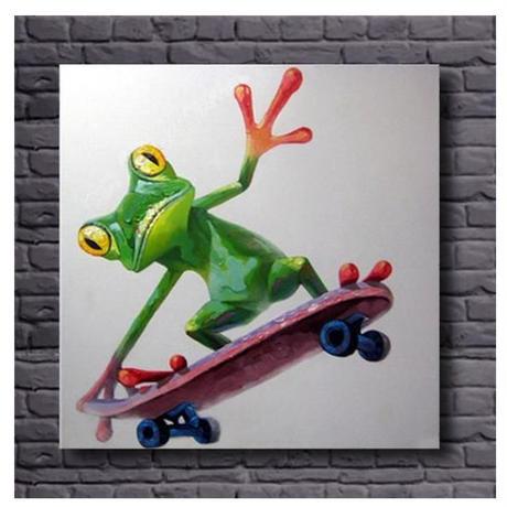 【手描き 油彩画】 -Skateboard frog Oil Painting- 海外輸入 パネルアート 壁掛 インテリア 絵画 油絵