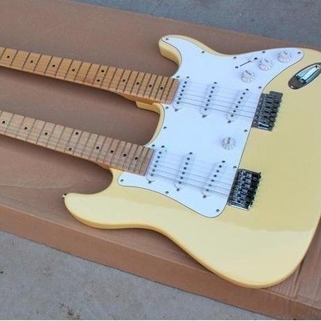 ダブルネックエレキギター 12弦+6弦 シングルコイルピックアップ メイプルフレット フロイドローズ 41インチ ノーブランド
