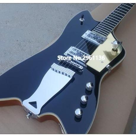 エレキギター サンダーバード スタイル 41インチ ブラック 初心者 グレッチタイプ マホガニーボディ