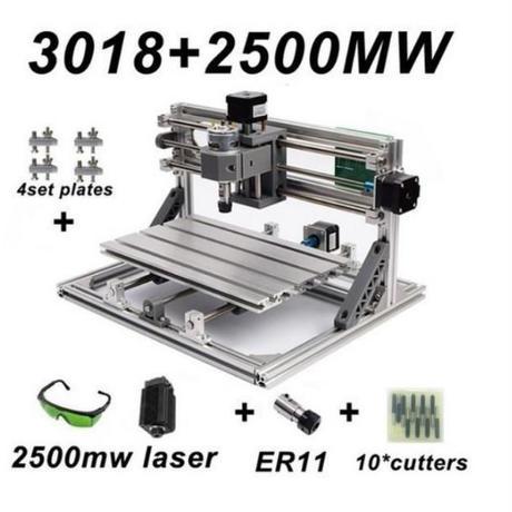【送料無料】レーザー彫刻機 2500mwレーザー withER11 DIYミニCNC彫刻機 PVCフライス盤 木製ルーター DIY道具 加工機