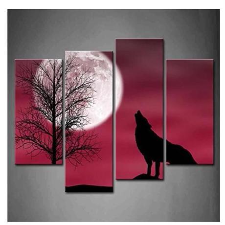 海外輸入 パネルアート 絵画 -Howling Wolf with Moon Tree Red - 壁掛 インテリア