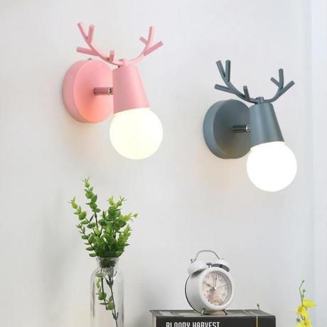 北欧 壁掛け照明 LED 鹿デザイン 6色 ウォールライト ベッドサイドランプ 北欧ヴィンテージ  インテリア照明