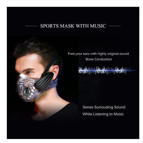 スマート Bluetooth 4.0 ヘッドフォン マスク ワイヤレス 充電式 防塵 音楽 骨伝導 抗汚染 スポーツ イヤフォン 花粉 PM2.5
