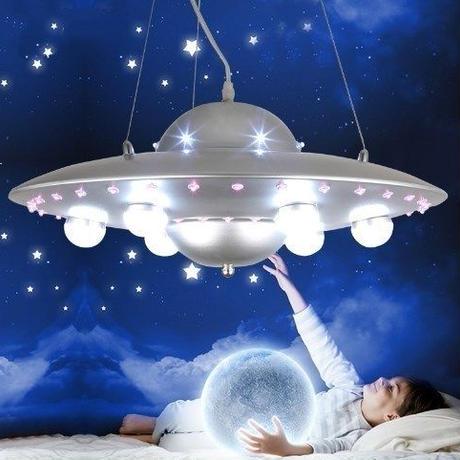 ユニーク UFOデザイン ペンダントライト 50cm幅 6ヘッド LED 天井照明 子供部屋 アールデコスタイル ルームライト 選べる5カラー