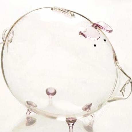 豚の貯金箱 透明ガラス7色から選択 可愛い 誕生日プレゼント 貯金箱 置物 贈り物 コインセービングボックス