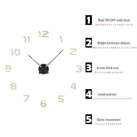 3D 壁掛け時計 4種類 仕上がりサイズ80~120㎝ ウォールクロック インテリア DIY ディスプレイ 輸入雑貨
