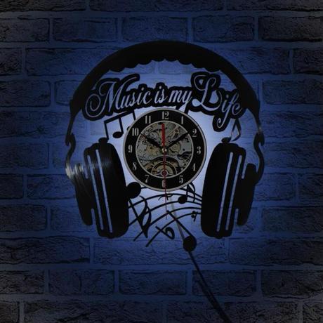 LED 壁掛け時計 MUSIC IS MY LIFE 7色に光る 30cm レコード盤 人気 おしゃれ インテリア ディスプレイ 輸入雑貨