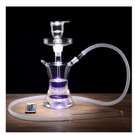 オールガラス LEDシーシャ ナルギレ フーカー 水タバコ 水ギセル LED照明で16色に輝く 高さ36cm