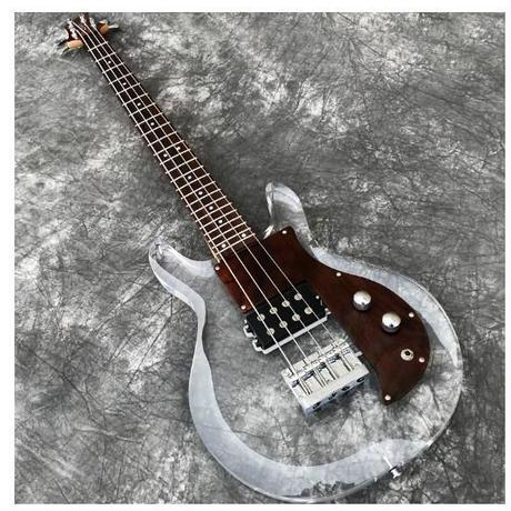 高品質 4弦 エレクトリックベースギター 超オシャレ アクリルボディ 木材ビックガード メイプルネック カスタム低音ギター