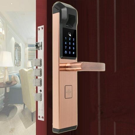 RAYKUBE 高性能指紋認証カードキードアロック ロック解除モード 指紋 + パスワード + ID カード カラー4色 レッドブロンズ ゴールド シルバー ブラック