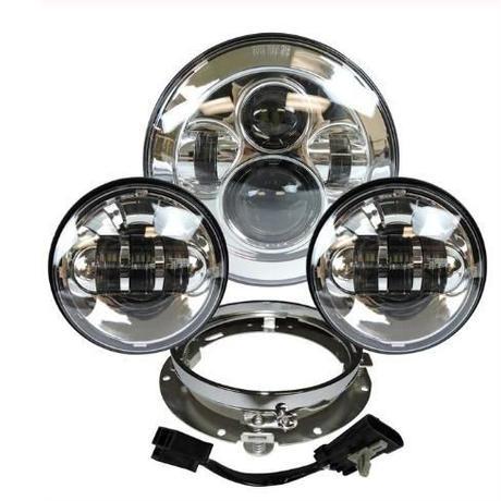 ハーレー LEDヘッドライト 7インチ クローム パッシング 左右 フォグライト2個 ヘッドライト取付リングブラケット付き フルセット