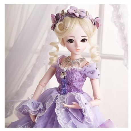 60cm 1/3 サイズ パープルドレス プリンセス かわいい女の子 球体関節人形 BJD カスタムドール リアルドール