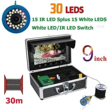 GAMWATER モニター 9インチ ケーブル30m 30LED (白色LED15/赤外線LED15) 360度回転 CCDカメラ 水中カメラ 水中釣り カメラキット