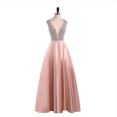 結婚式二次会 ドレスフォーマル 3色 ビーズトップセクシーVネックノースリーブAラインロングドレス