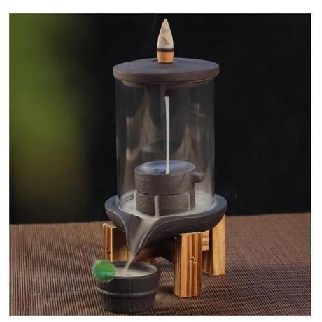 お香10個入り セラミック 香ホルダー 香炉 アクリル保護カバー 逆流香 リラクゼーション アロマ