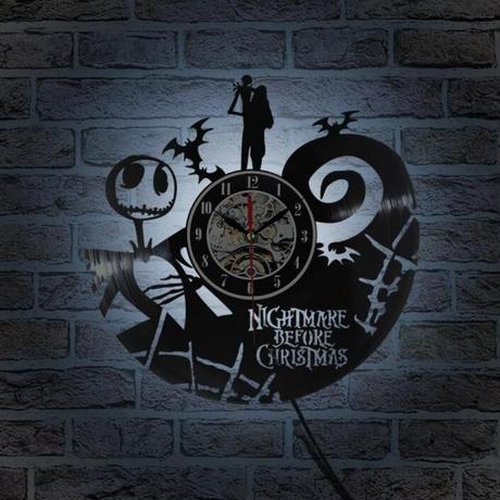 The Nightmare Before Christmas LED  壁掛け時計 7色に光る  30cm レコード盤 アニメ 映画 人気 おしゃれ インテリア ディスプレイ 輸入雑貨