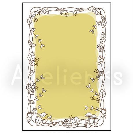 m2-4/ダウンロードメッセージカード/たて/ぬりえ/秋の森/どんぐり/はがきサイズ