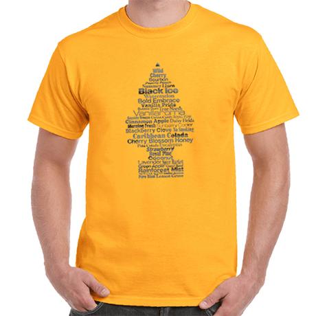 """リトル・ツリー """" Fragrance Tree """" Tシャツ (ゴールド)"""