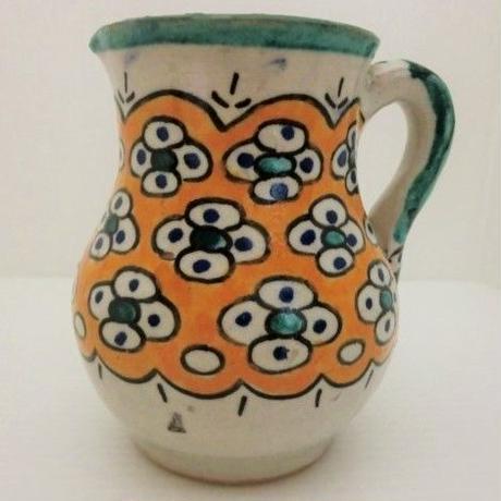 インテリア小物 ミルクポット花柄・オレンジ モロッコFES(フェズ)陶器