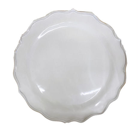 笠間焼 / うすくて軽い輪花皿ブルーム(L)(白)