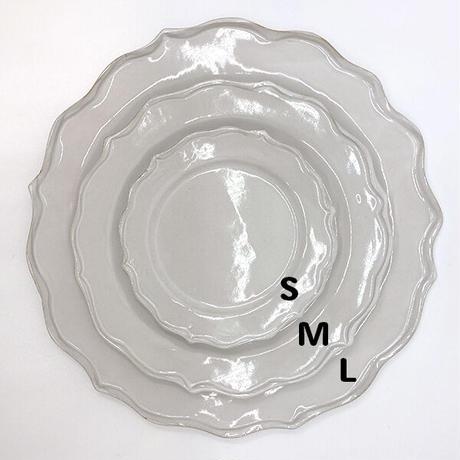 笠間焼 / うすくて軽い輪花皿ブルーム(M)(白)