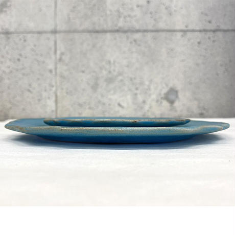 笠間焼 / うすくて軽い輪花皿ブルーム(S)(ターコイズ)