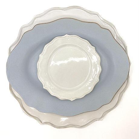 笠間焼 / うすくて軽い輪花皿ブルーム(S)(白)