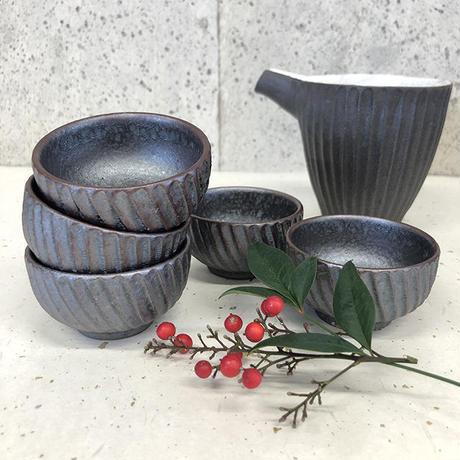 笠間焼 / 鎬のぐい呑(鉄)
