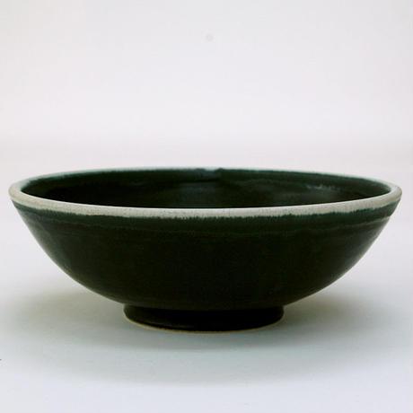 笠間焼 / 中鉢(黒に白ふち)