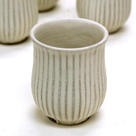 笠間焼 / 鎬(しのぎ)の湯のみ(白)